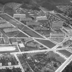 Aerial view of the new centre of Zlín, 1935